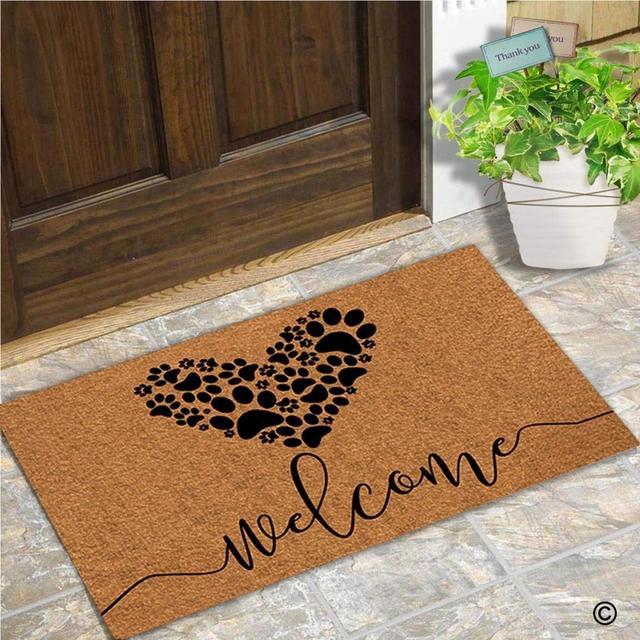 Felpudo de entrada, felpudo gracioso, Felpudo de bienvenida, patas de perro, Felpudo de amor para puerta, Felpudo decorativo para interiores y exteriores