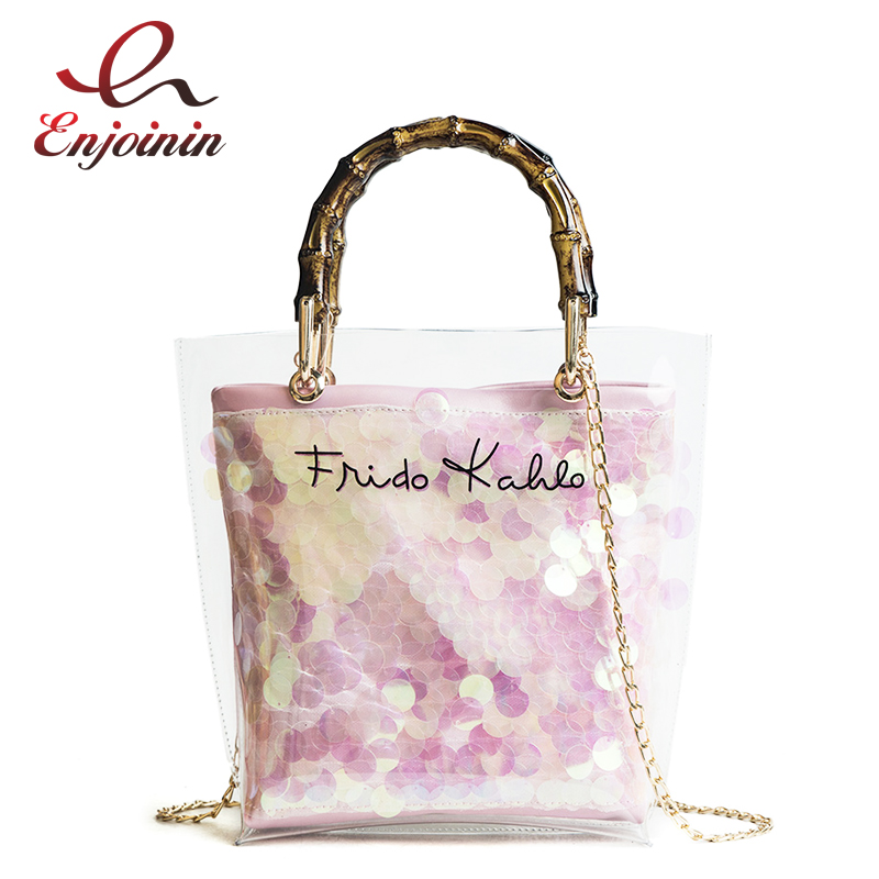 New Style PVC Jelly Straw Fashion Bamboo Handles ladies Bags Tote Bucket Tote Shoulder Bag Women's Crossbody Messenger Bag Bolsa straw flamingo embroidered tote bag