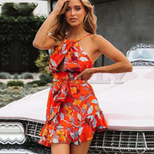 Cuerly Sexy backless halter ruffle short dress women Summer chiffon sashes mini Beach party cool female vestidos  L5