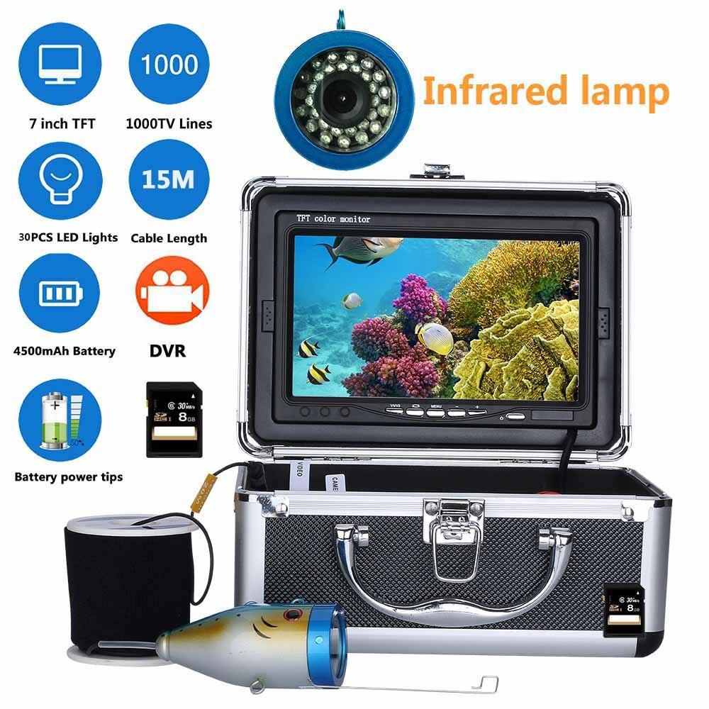 7 pouces DVR Enregistreur 1000tvl Sous-Marine Pêche Caméra Vidéo Kit 30 pcs LED IR Lumières 15 m 30 m