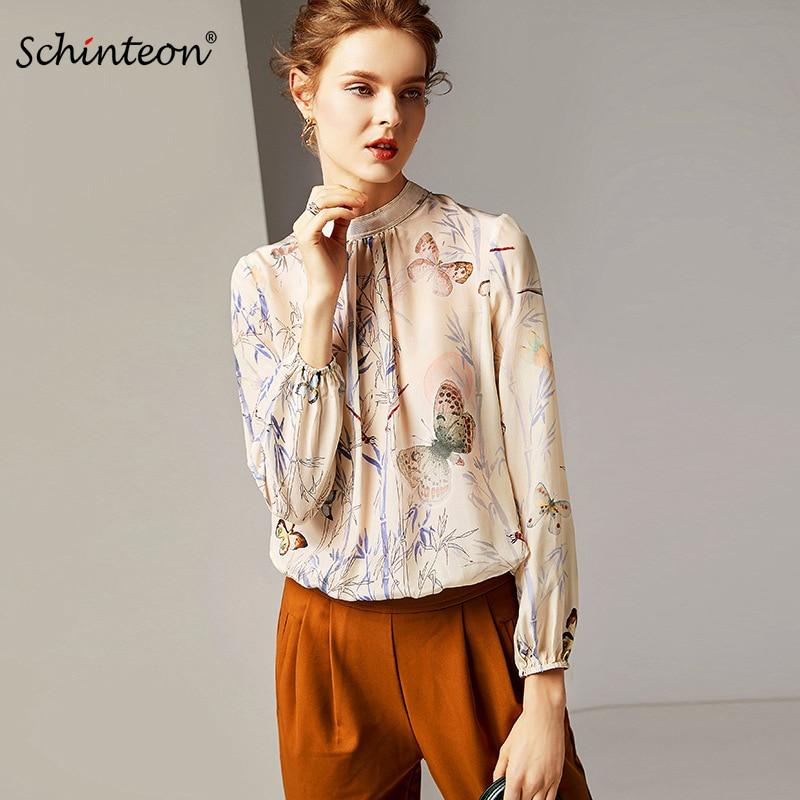 2019 Schinteon New Women Blouse 100 Real Silk Print Long Sleeve Shirt Turtleneck Pullover Top High
