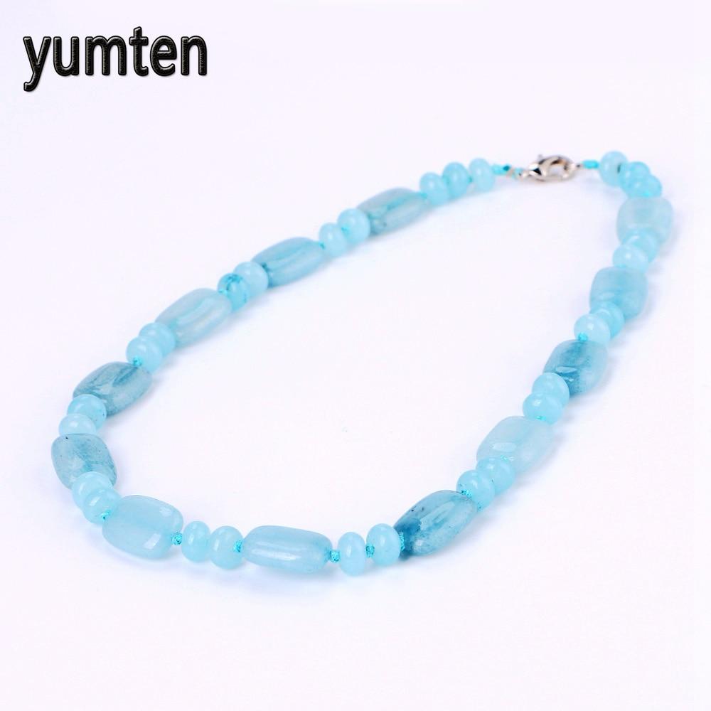 Yumten Aquamarine Necklace Power Natural Stone Crystal Jewelry Women Gift Rainbow Pokemon Pingente Overwatch Wholesale 5 PCS