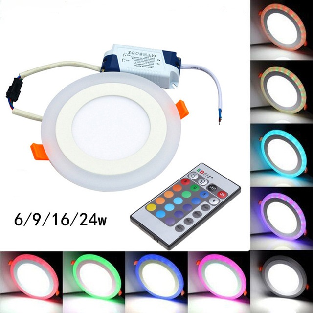 25pcs LED Downlight Round 6W  3 Model  LED Lamp Double Color Panel Light RGB + Remote Control