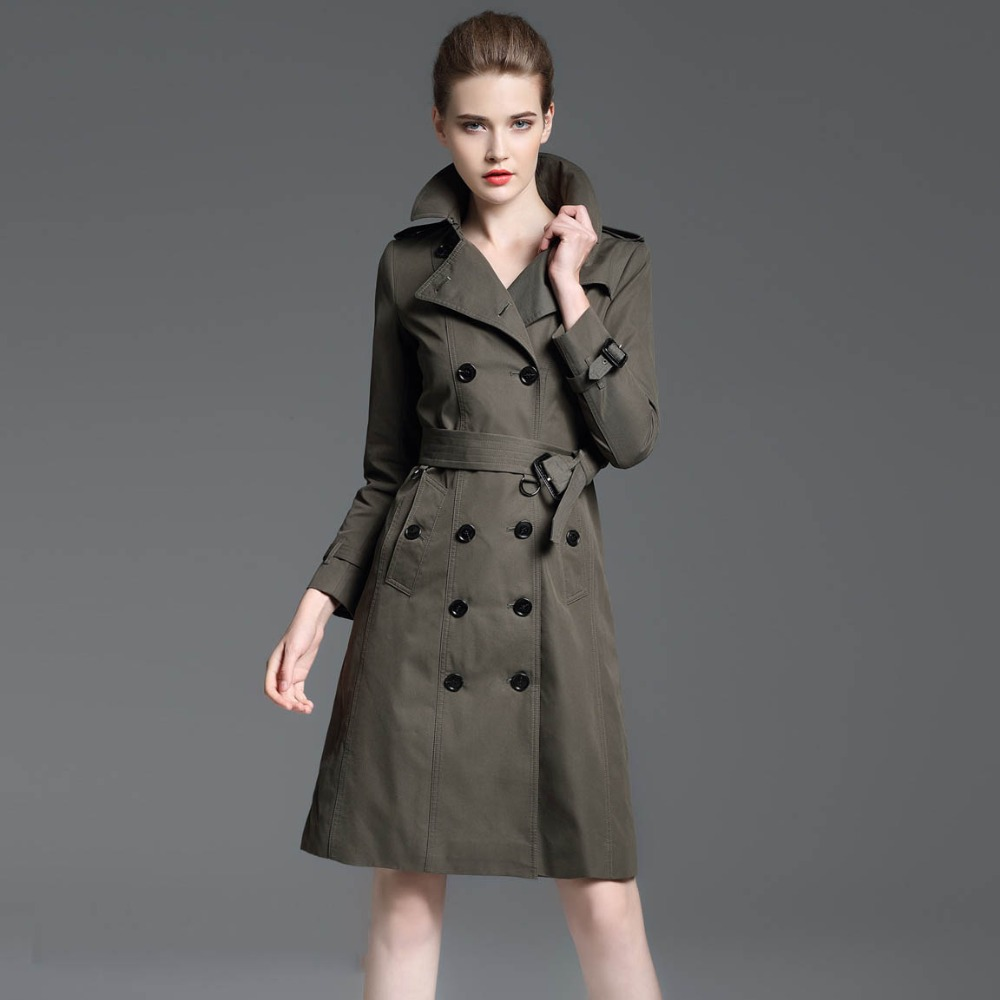women   trench   coats clothing waterproof elegant autumn winter british style womans windbreaker basic spring fall duster long coat
