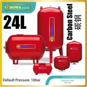 24L vertical pressure tank(carbon steel) designed to hold water at a pressure substantially different from the ambient pressure