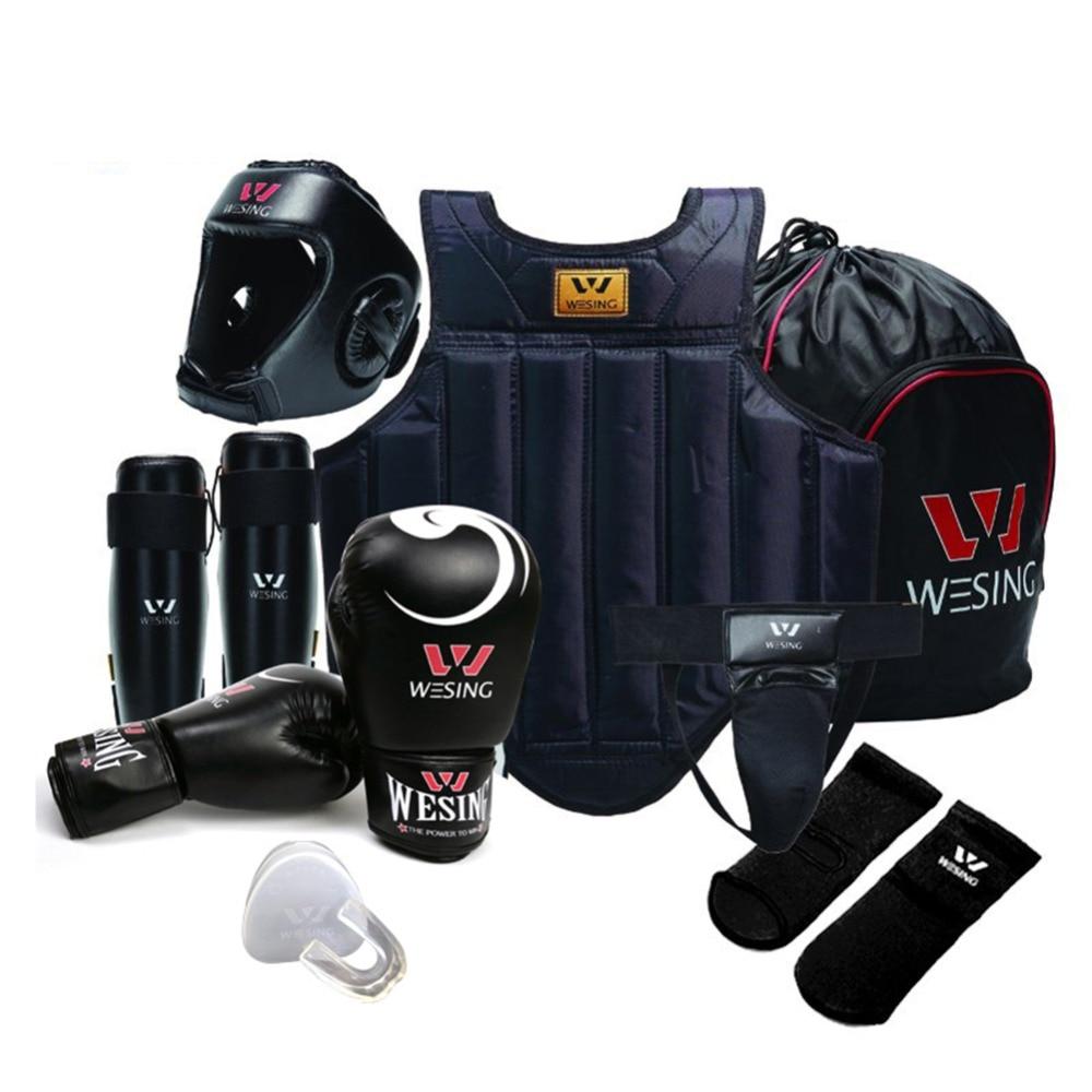 wesing sanshou 8pcs set training equipment  sanda gear chest guard  martial art  set wushu sanda equipment taekwondo sanda boxing training target black red size m