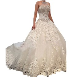 Real Photo Princess Wedding Dress With Lace 2019 Luxury Crystal Bridal dress Custom  Royal Train Ball Gown Halter Wedding Gown