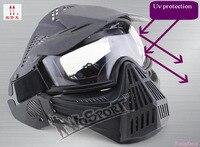 Uv máscara de paintball CS airsoft máscara earmuffs vento profissional 3 cor choque full face protect máscara Frete grátis