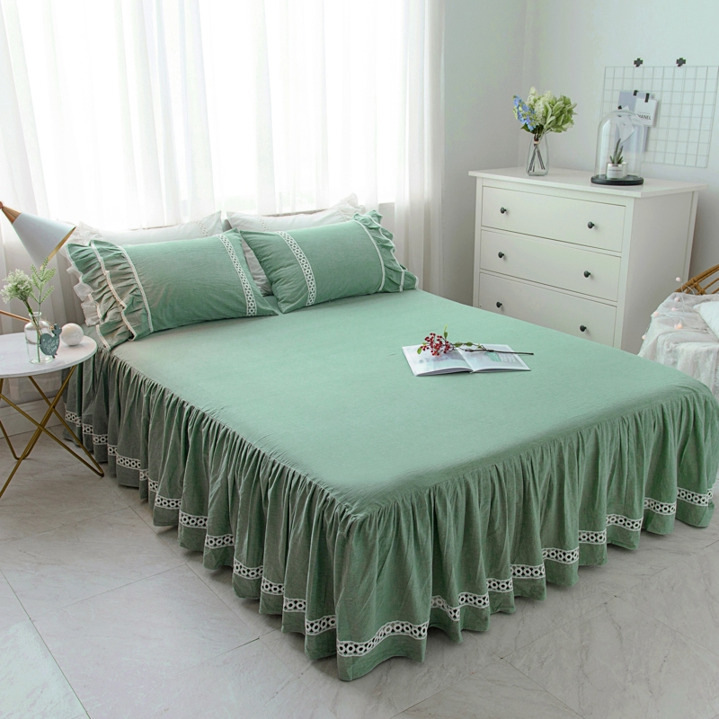 Green Pink White Blue 100 Cotton Girls Bed skirts set King Queen Full Twin size lace