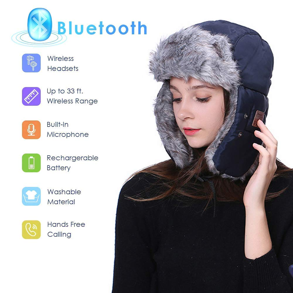 2b914c4743fba Bluetooth Earphone  Speaker Winter Trapper Hat