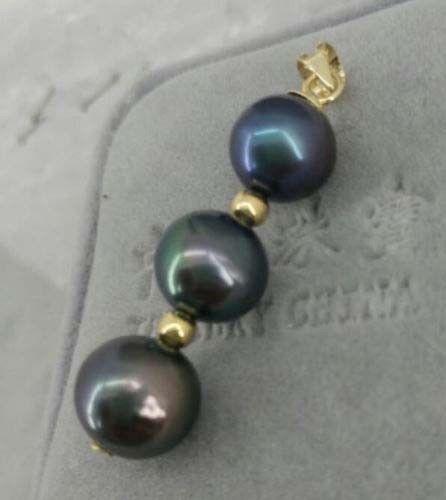 9-10 MM BLACK ROUND AAA+ NATURAL TAHITIAN PEARL PENDANT NECKLACE 925silver9-10 MM BLACK ROUND AAA+ NATURAL TAHITIAN PEARL PENDANT NECKLACE 925silver