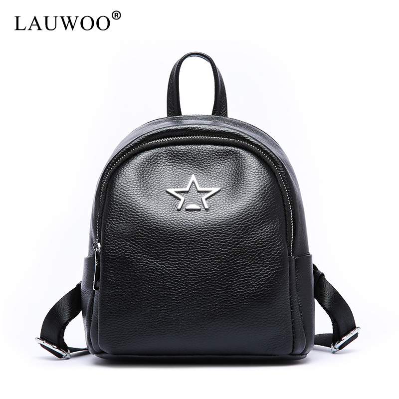 e8b49f38200f LAUWOO Top quality Girls Star Cute Real Cow Leather Backpack Mini Shoulder  Bag Backpack Purse For Women