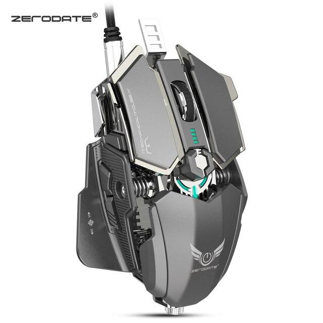 ZERODATE LD MS500 Adjustable 4000DPI RGB Breathing Light Gaming Mouse Professional Mechanical Gaming Mouse Ergonomic Game Mice