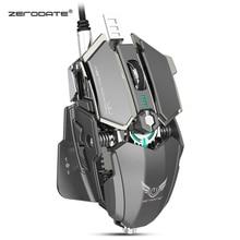 Zerodate LD MS500 조정 가능한 4000 인치 당 점 rgb 호흡 조명 게임 마우스 전문 기계 게임 마우스 인체 공학적 게임 마우스