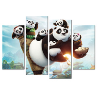 Kids Baby Room Decor Kung Fu Panda3 HD Picture Canvas Wall Poster Home Decorations Contemporary Art Decorative Painting 5 Piece