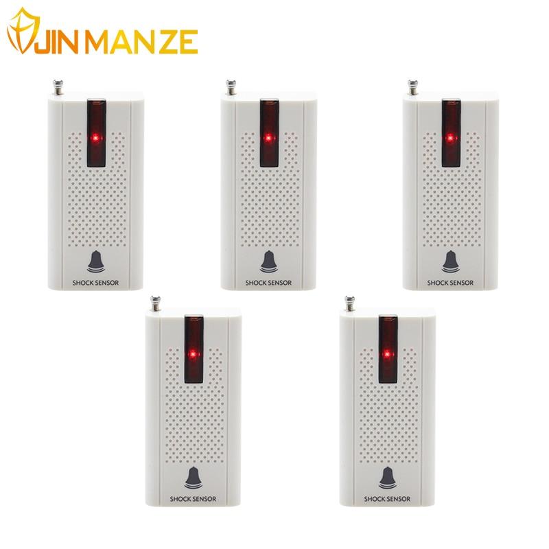 imágenes para 5 unids/lote jinmanze 433 mhz inalámbrico puerta ventana de vibración detector de rotura e30 shock sensor de seguridad para el hogar gsm sistema de alarma