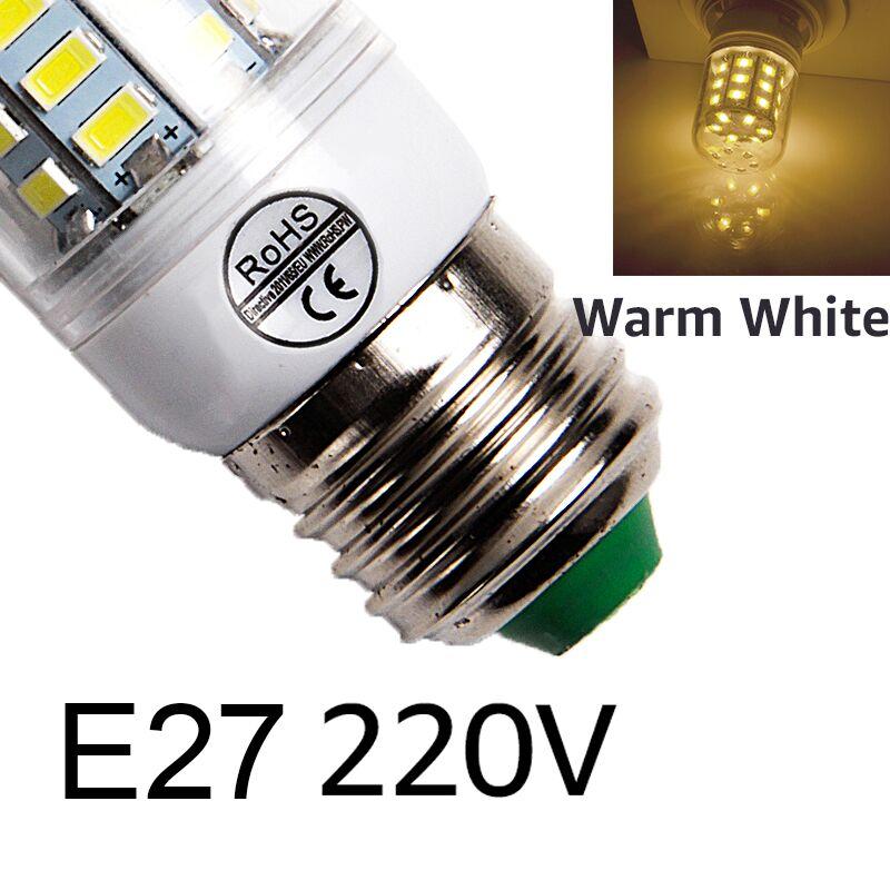 E27 светодиодный светильник E14 светодиодный лампы SMD5730 220V лампы кукурузы 24 36 48 56 69 72 светодиодный s люстры лампы в форме свечи светодиодный светильник для украшения дома ампулы - Испускаемый цвет: E27warm white