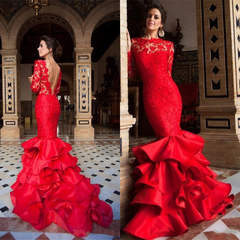 ALIEXPRESS.COM : BUY THE LATEST RED EVENING GOWN BACKLESS MERMAID ...