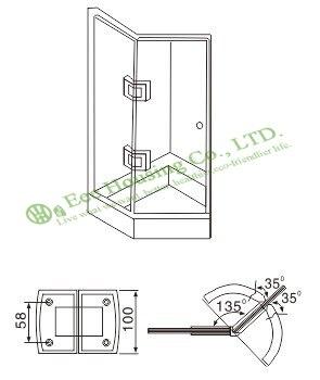 Bisagra de puerta de ducha de acero inoxidable de 135 grados, bisagra de puerta de vidrio de baño de 135 grados, abrazadera de vidrio acabado con espejo - 2