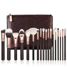 2017 New 18pcs Rose Gold Makeup Brush Complete Eye Set Tools Powder Blending Brush With A Bag JU29 drop shipping
