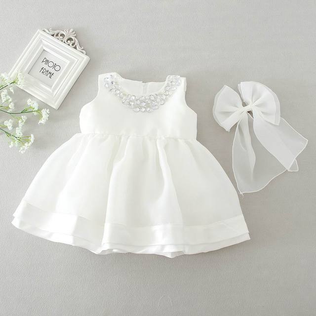 Retail 2016 New Baby Girl Wedding Dresses Bow Birthday Dress Puffy Party Sundress Baby Clothing 0-2T 8022BB