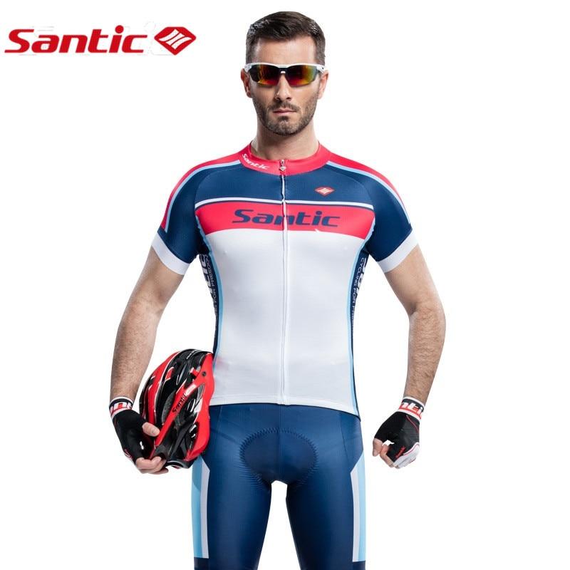 цена на Santic Men Cycling Sets Short Sleeve Pro Fit Anti-UV Racing Team Sports Wear MTB Road Jersey Cycling Clothing Male WM6CT056B