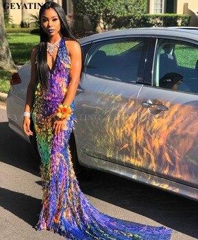 36d0db5e2 Brillante de color lentejuelas sirena sin respaldo africanos vestidos 2019  Sexy V-cuello negro chicas fiesta de graduación Vestido de Gala