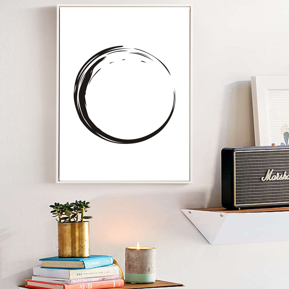 Zen Circle Wall Prints Black And White Poster Canvas Art Oil Paintings Pictures For Living Room Home Decor No Frame