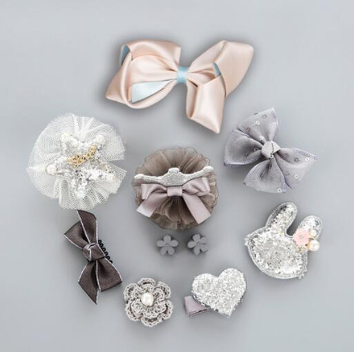 2017 10Pcs Cute Crown Bowknot Kind Hairpin Set Flower Star Girls Hair Clip Hair Accessories Headwear Headband Hairgrip New