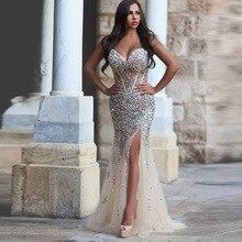 Promi Kleider für Verkauf 2016 Vestidos De Festa Curto Sexy Slit Kristalle Plus Size Abendkleid Meerjungfrau