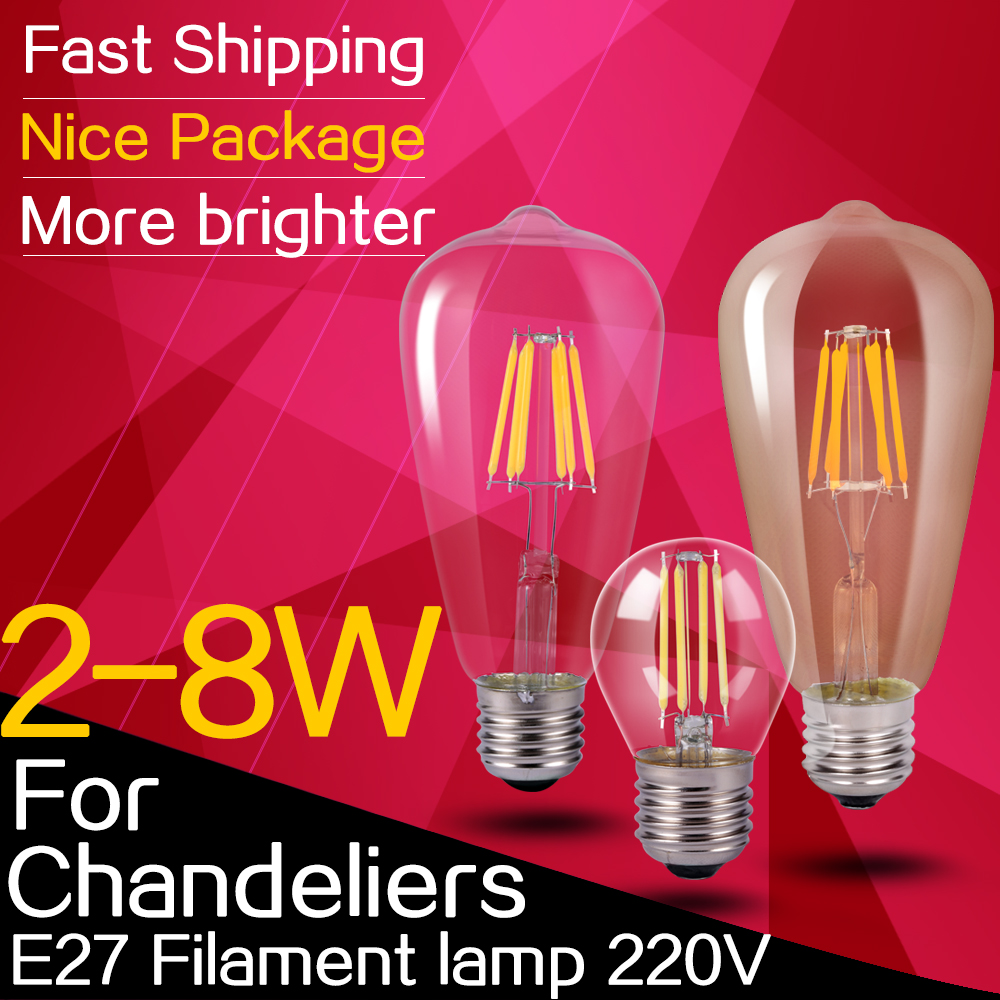 glass ampoule led e27 filament lamp 220v led bulb edison 220v e27 2w 8w energy saving bombillas. Black Bedroom Furniture Sets. Home Design Ideas
