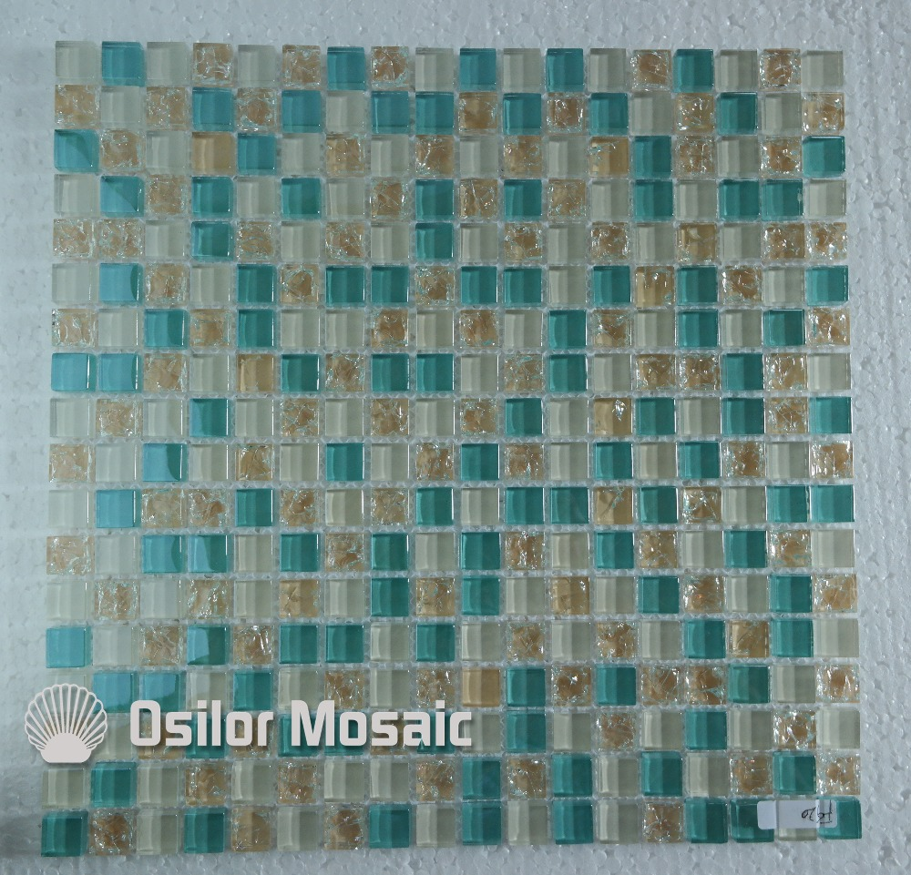 Free shipping mediterranean sea cracked pattern glass crystal mosaic ...