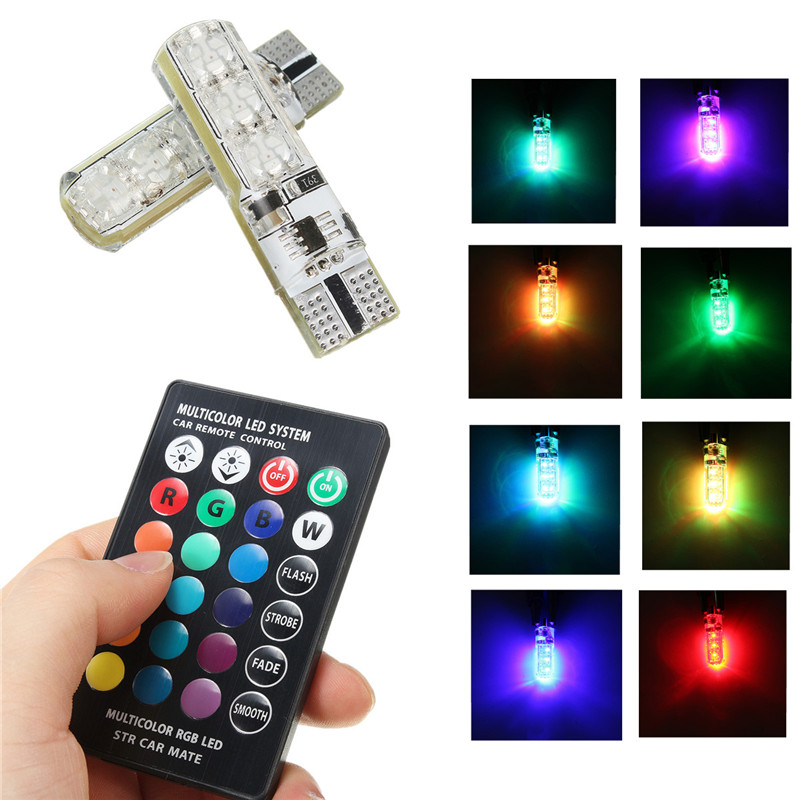 2pcs 5050 SMD RGB LED T10 W5W 194 168 Auto Car Wedge Side Light Multi Color LED Demo Lamp Bulb With Remote Controller Strobe 2x t10 w5w 168 194 smd 6 led 5050 remote control rgb car reading wedge lights for car tail light side parking door lighting