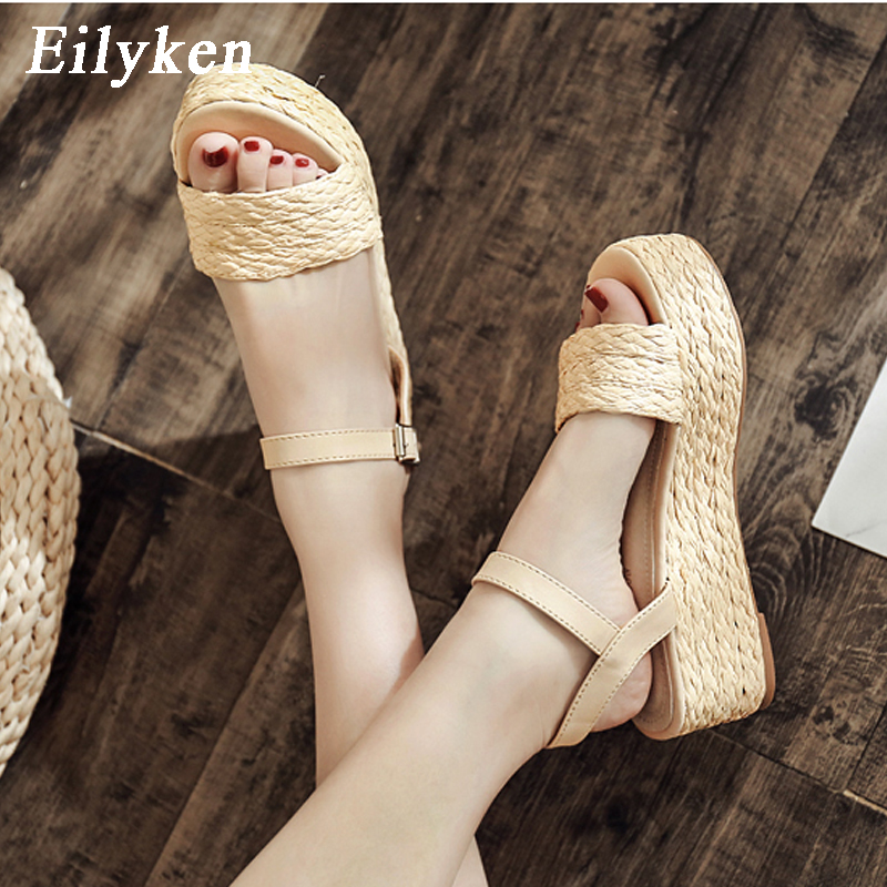 Eilyken New Wedges High heel Sandals shoes Woman Rome Buckle Strap Pumps Straw Hemp Rope Platforms Sandals Women