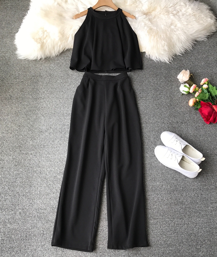 HTB1BmAxVrrpK1RjSZTEq6AWAVXaM - two piece set women fashion sexy short top and long pants casual sleeveless Elastic high waist female summer festival clothing