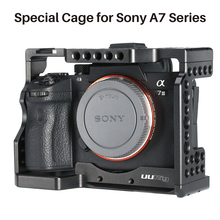 Uurig metal vlog câmera gaiola de montagem para sony a7iii a7r3 a7m3 caso com microfone sapata fria montagem alça superior mão grip rig gaiola