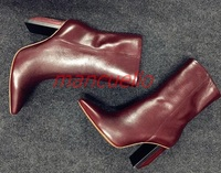 Fashion Lady Pointed Toe Thick High Heel Mid Calf Leather Boots Real Photo Dark Red Black