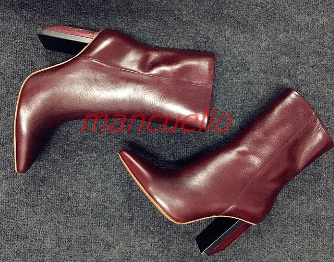 fashion lady pointed toe thick high heel mid calf leather boots real photo dark red black color large size customize make boots double buckle cross straps mid calf boots
