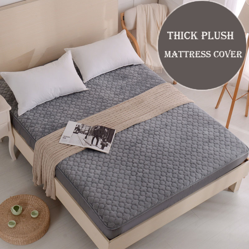 Solid Thick Plush mattress protector double bed separated covers for mattresses warm air permeable mattress cover