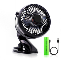 Portable USB Fan 18650 Rechargeable Battery or USB Operated Clip on Fan 360 degree Rotation , Mini Desk Fan for Baby Travel