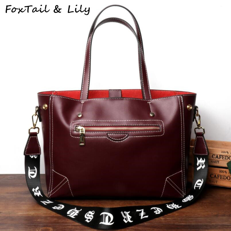 FoxTail & Lily Luxury Brand Women Genuine Leather Handbags Large Capacity Tote Shoulder Bag Female Crossbody Bags Double Straps