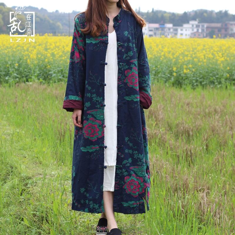 LZJN 2019 Spring Trenchcoat Women Cardigan Floral Long Jacket Cotton Linen Duster Coat Vintage Chinese Windbreaker Overcoat