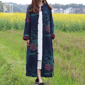 Image 2 - LZJN 2020 الربيع المرأة خندق معطف الأزهار طويلة القطن الكتان منفضة معطف Vintage سترة واقية الصينية معطف