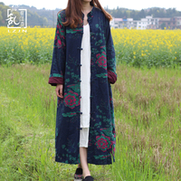 2016 Spring Coat Long Sleeve Women Trench Cloat Cotton Linen Lady S Long Blouse Chinese Coat