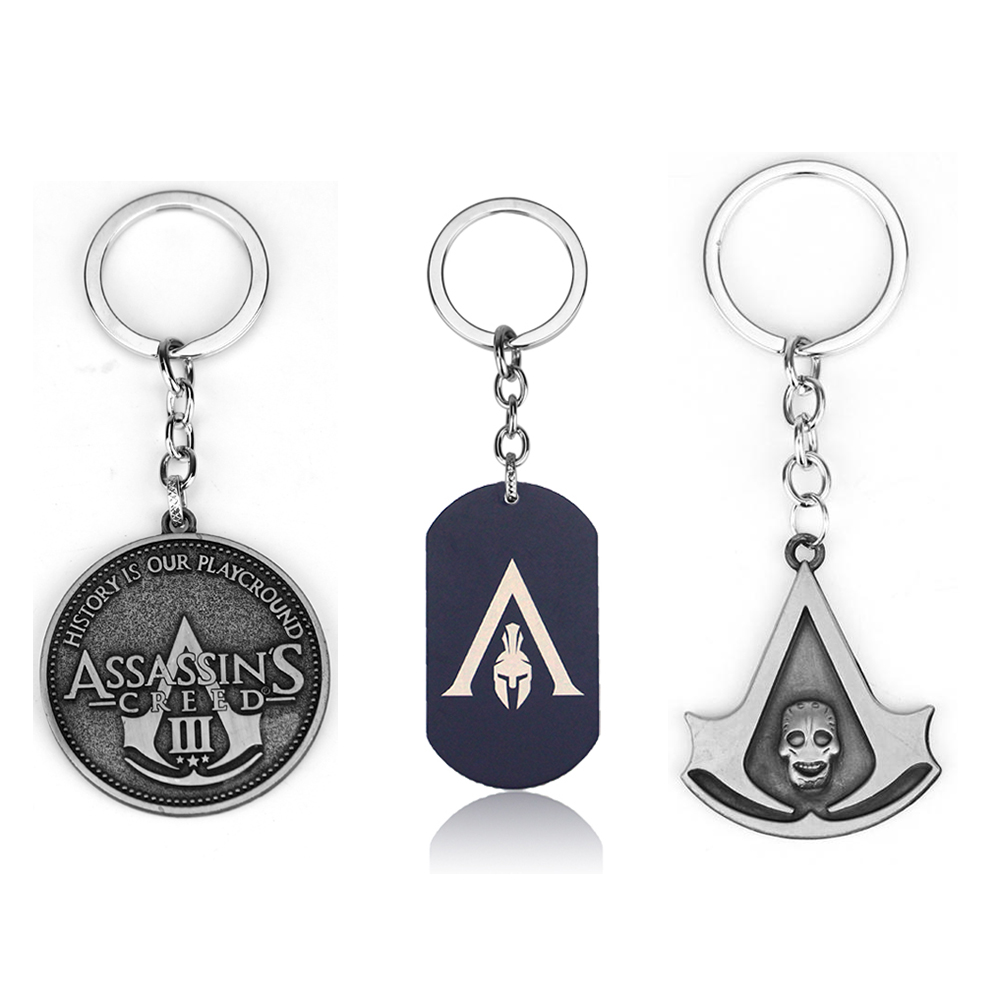 Game Assassins Creed Alloy Key Chains Holder Vintage Metal Dog Tags Keychain Keyrings Pendant Jewelry Gift For Fans Man image