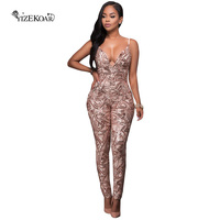 2017 Bodycon Jumpsuit Rompers Womens Jumpsuit Sexy Rose Gold Sequins Backless Jumpsuit Women Elegant Jumpsuit Overalls