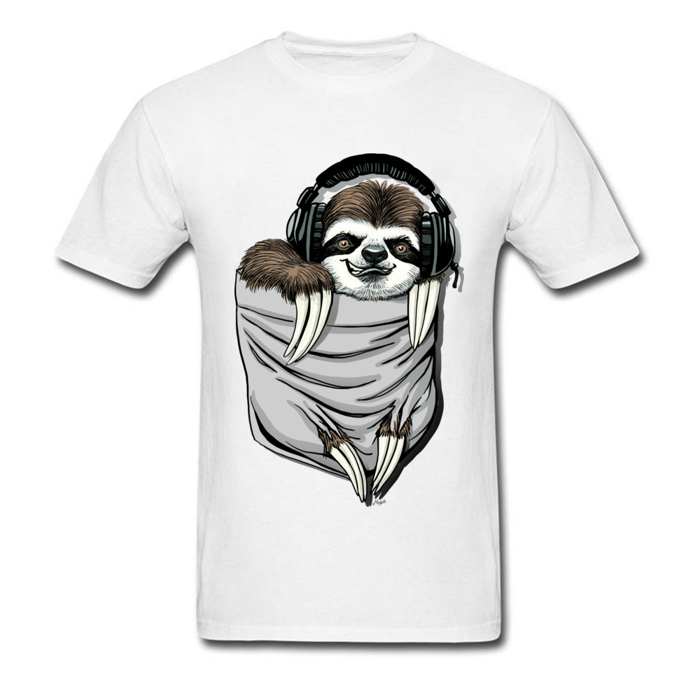 Прочный Шарм DJ Музыкальная гарнитура Ленивец Спортивная футболка мужская Спортивная Футболка серая футболка Kawaii дизайн карманный монстр одежда - Цвет: White