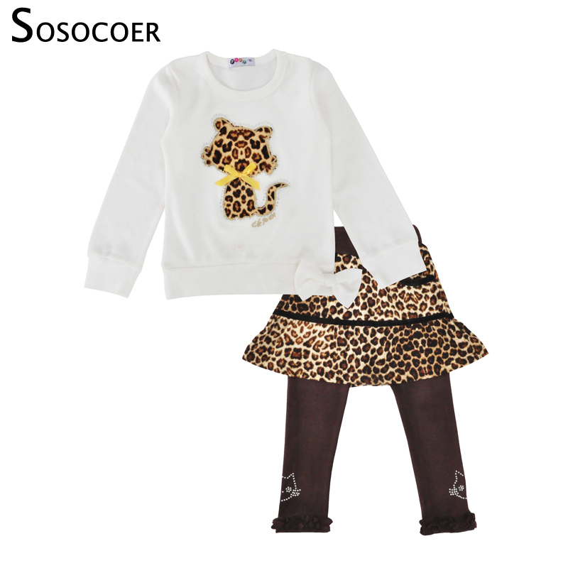 SOSOCOER Kids Clothes Baby Girl Clothes Cartoon Cat Long Sleeve Leopard Skirt Pants Girls Clothing Set Spring Children Clothing 3pc toddler baby girls clothing denim t shirt tops long sleeve leopard skirt set kids clothes girl outfit