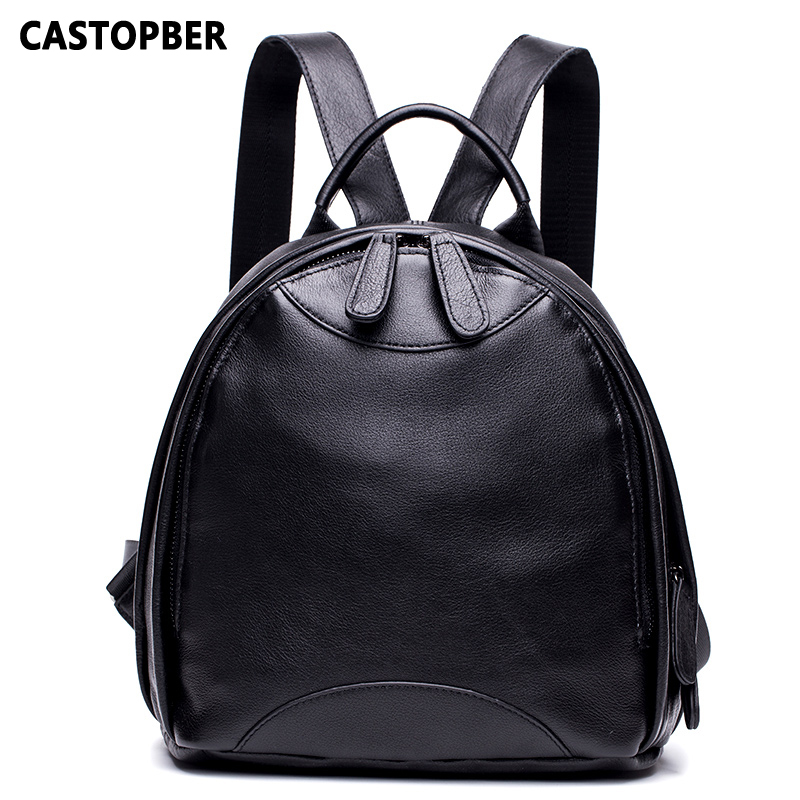 Women Backpacks Leather Fashion Double Zipper Cow Genuine Leather Shoulder School Daypack for Student High Quality Ladies BagsWomen Backpacks Leather Fashion Double Zipper Cow Genuine Leather Shoulder School Daypack for Student High Quality Ladies Bags