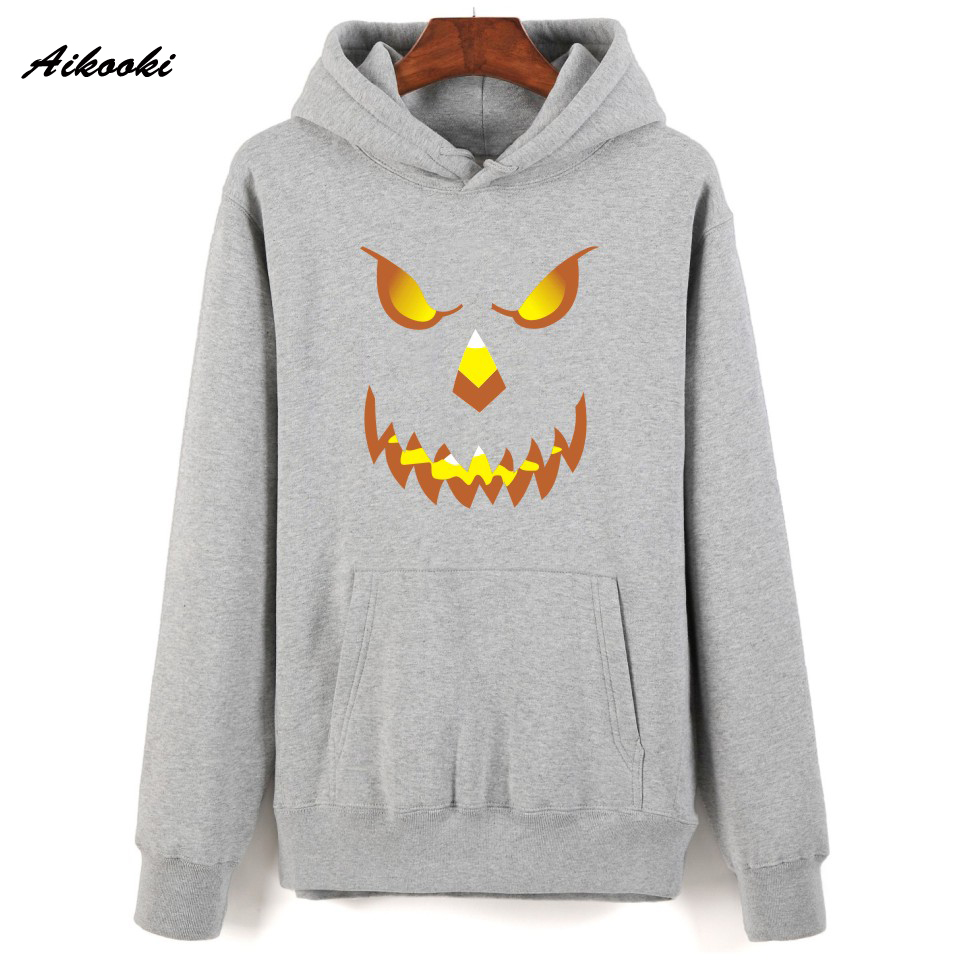 Aikooki Halloween Pumpkin Humor Print Hooded Hoodies Winter Autumn Spring Design Men Hoodies Male Sweatshirts Sportwear XXS-4XL